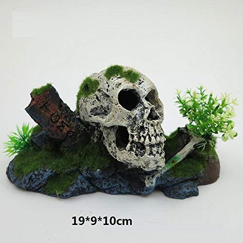 HVQY Artesanía De Resina para Decoración De Acuarios Esqueleto Esqueleto Fósiles Cofre del Tesoro del Fondo Marino Hábitat De Reptiles Anfibios