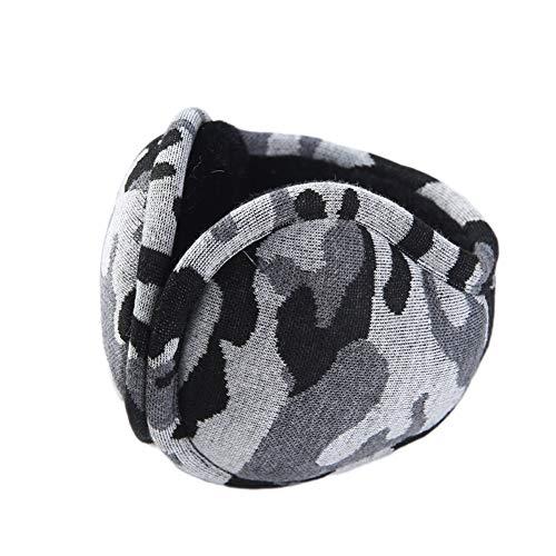 Brave Tour Unisex Earmuffs Simple Camouflage Earmuffs Lined Compact Winter Warm Earmuffs(Camou-Grey)