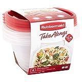 Rubbermaid TakeAlongs Contenedores cuadrados profundos para almacenamiento de alimentos, 5.2 tazas, 8 unidades