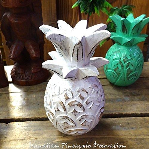 HAWAIIAN Pineapple Decoration パイナップルデコレーションオーナメント(ホワイト) 【置物、ハワイアン雑貨、飾り、木彫り、インテリア雑貨】