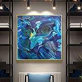 KWzEQ Pintura al óleo Marina Moderna del Arte Abstracto Que agita el Mural en la Lona, decoración casera,Pintura sin Marco,60x60cm