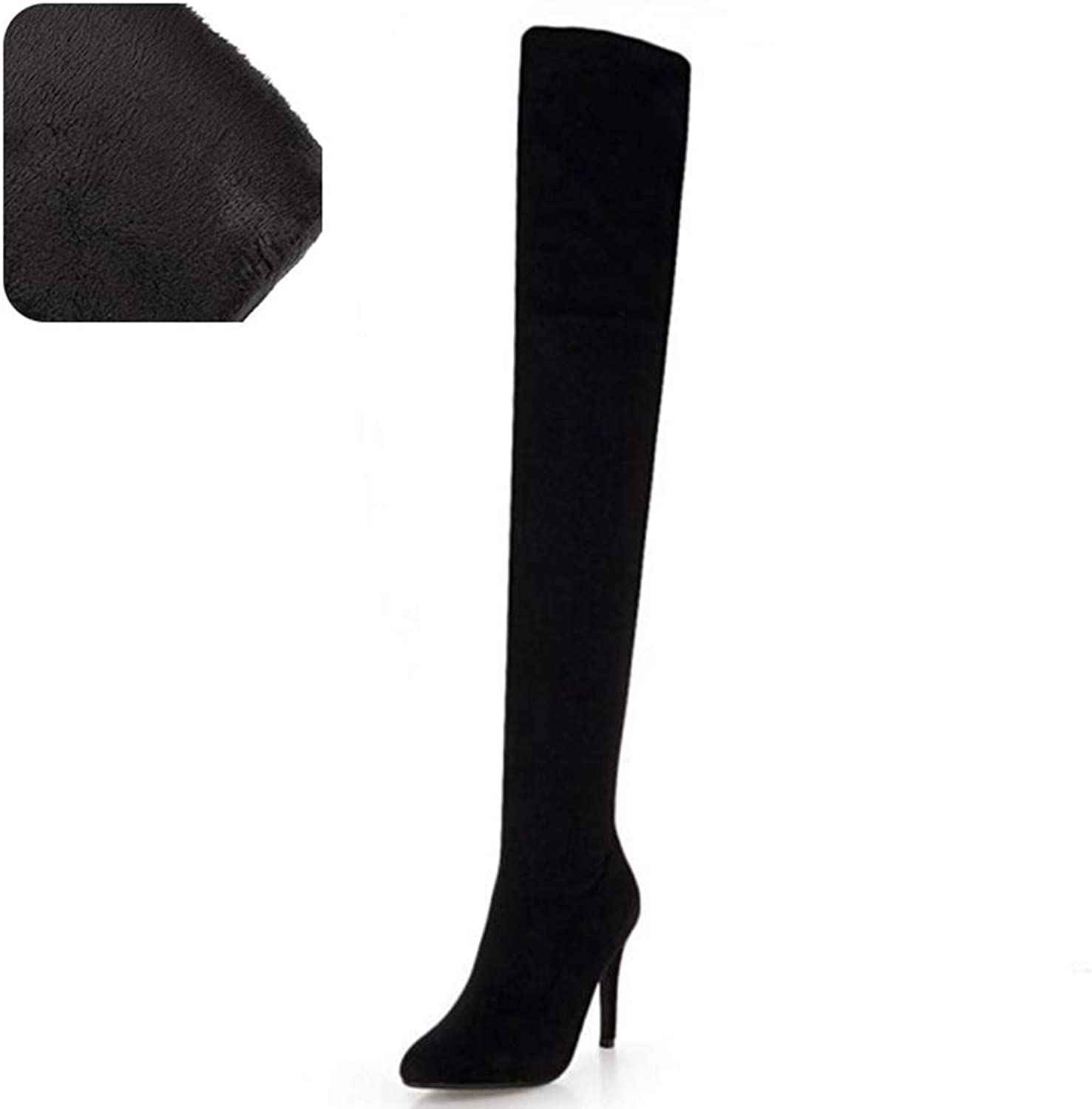 Webb Perkin Women High Heel Boots Winter shoes Zipper Pointed Toe Fur shoes Long Boots Lady Over Knee High Boots