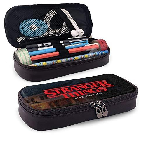 Str-an-ger Thi-ngs - Estuches para lápices de estilo occidental impresos, bolsa básica de gran capacidad de almacenamiento para niños y niñas unisex