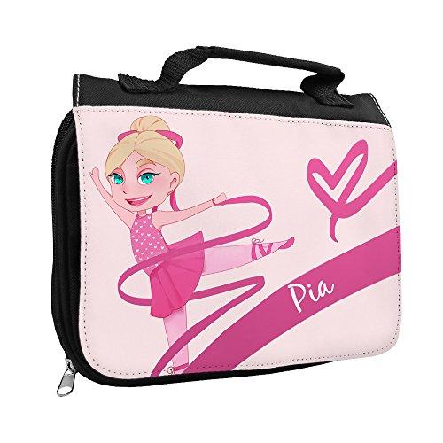 Kulturbeutel mit Namen Pia und Motiv mit Tänzerin für Mädchen | Kulturtasche mit Vornamen | Waschtasche für Kinder