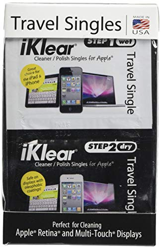 iKlear Travel Singles with Wet and Dry Wipes Plus Microfiber Cloth (iK-SP12)