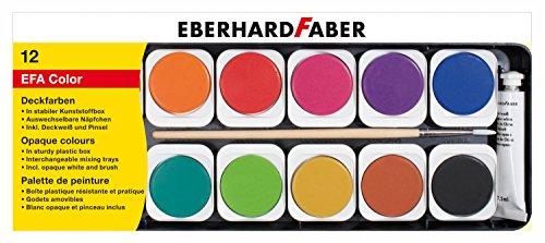 Eberhard Faber 578112 Deckfarbkasten aus Kunststoff, 12er, Mehrfarbig