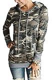 onlypuff Hoodies for Women Camouflage Sweatshirt Tunic Tops Kangaroo Pocket Shirt S