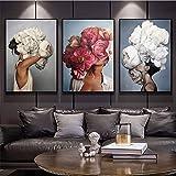 Quadri Astratti Moderni su Tela Fiori Donna Arte murale Pittura Piuma Poster e Stampe Immagini a Parete per Soggiorno Decor Senza Cornice 50cmx70cmx3 pz
