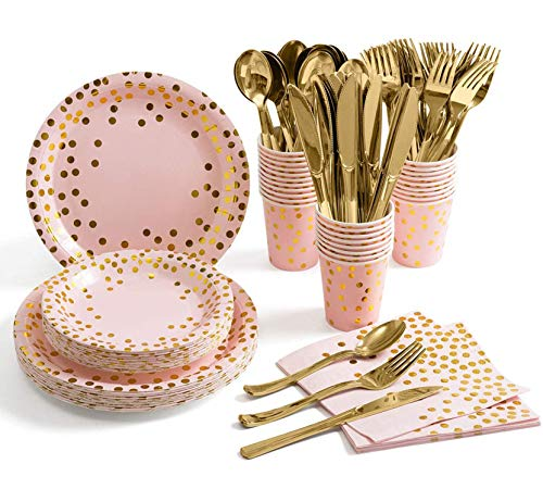 ZIMAIC 141 Stück Rosa Gold Partyzubehör Pappbecher Pappteller Set, Einweg Papier Geschirr Set einschließlich Tischdecke Teller Becher Servietten zum Geburtstag, Hochzeiten, Jubiläums (20 Gäste)