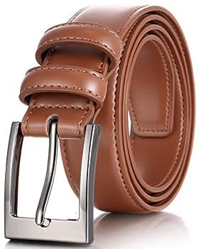 Marino's Men Genuine Leather Dress Belt with Single Prong Buckle - Tan - 36  Waist  34