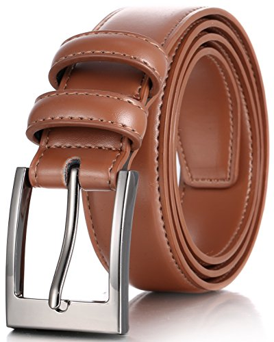 Marino's Men Genuine Leather Dress Belt with Single Prong Buckle - Tan - 38
