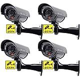 BW 4 cámaras de seguridad falsas para interiores y exteriores con luz intermitente en forma de bala, color negro