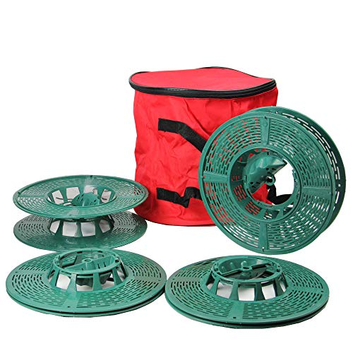 5-Piece Set of Light Strand Storage Reels with Red and Green...