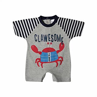 Papillon Crab-Print Crew-Neck Striped Short Raglan Sleeves Bodysuit for boys