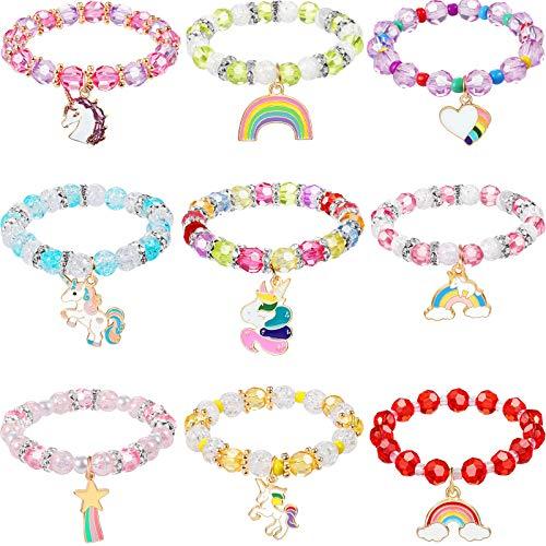 9 Piezas Pulseras Unicornios Coloridos de Niñas Pulsera de Cuentas de Unicornio Arcoíris para Favores de Fiesta de Cumpleaños (Estilo Clásico)