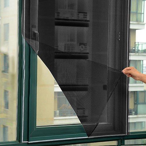 Moustiquaire noire Bluelans®pour grandes fenêtres - Filet de protection contre mouches, moustiques, mites - 130 cm x 150 cm