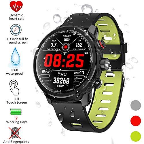 Gskj Smartwatch, Fitness Horloge IP68 Waterdichte 1.3 Inch Fitness Tracker met Hartslagmeter Activiteit Tracker Calorie Counter Stappenteller Compatibel met iOS Android voor Mannen Dames