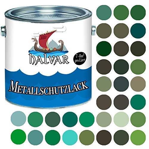 Halvar Metallschutzlack SEIDENMATT Grün RAL 6000-6037 Metallfarbe besonders robuster Kunstharzlack Wetterbeständig & perfekter Langzeitschutz Metall (5 L, RAL 6009 Tannengrün)