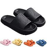 Qosneoun Pillow Slides Slippers for Women Men, Massage Shower SPA Bathroom Foam Slipper,Non-Slip Thick Sole Slippers for Bathroom House (Black,8.5-9 women/7-8 Men)
