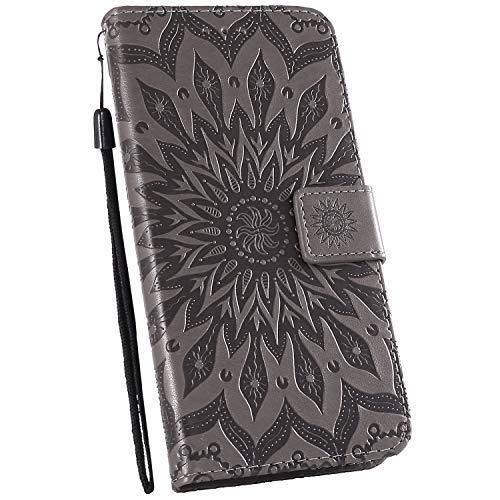 Ysimee Hülle kompatibel mit Samsung Galaxy A20e Handy Schutzhülle/Klapphülle PU Lederhülle mit Standfunktion und Kartenfach, Blumen Muster Tasche Einfarbig, Leder Handyhülle - (Grau)