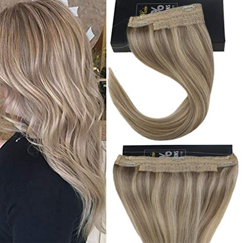 Sunny Halo Human Hair Extensions No Glue Hair Flip In Extensions Color #18/613 Ash Blonde Mixed...