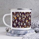 Taza de esmalte de 10 oz para acampar, taza de café esmaltada para acampar, taza de café esmaltada para exteriores, calavera con patrón de seta amarillo naranja circular, vasos con asa, para uso domés