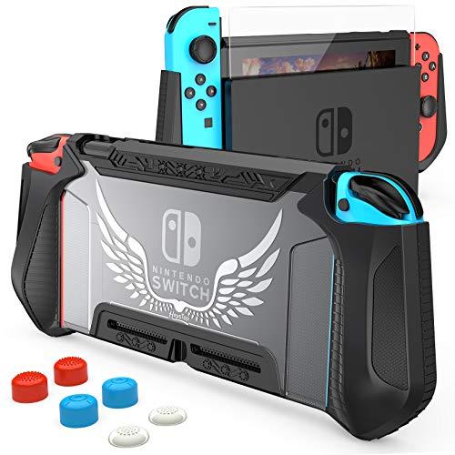 HEYSTOP Carcasa Nintendo Switch, Funda Nintendo Switch con Protectora TPU Grip Funda de Agarre Compatible con la Consola de Pantalla para Nintendo Switch Console y Joy-Con con 6 Agarres para el Pulgar