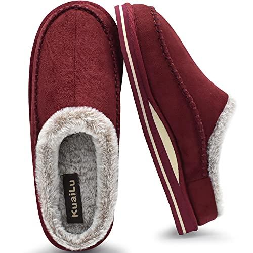 Pantoufles pour support de l'arche hommes Confortable Intérieur Point fait main Microsuède Sabot facile à mettre Maison Chaussures Avec Fausse Fourrure Chaude caoutchouc Extérieur Rouge Taille 45