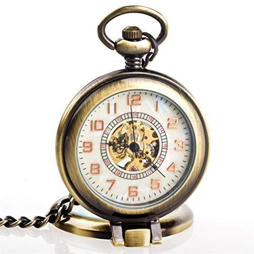 HUAQINEI Reloj de Bolsillo,Lupa Transparente Clamshell Grandes números de Old Shanghai Vintage...