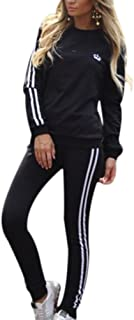 CHICFOR Womens Tracksuit Set Striped Side Long Sleeve Sweatshirt and Sweatpant 2 Pieces Outfit Sets Sportswear