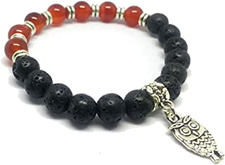 SEY Men Women 8mm Lava Rock Essential Oil Diffuser Bracelet Natural Stone Yoga Beads Bracelet Bangle Gift Halloween Party