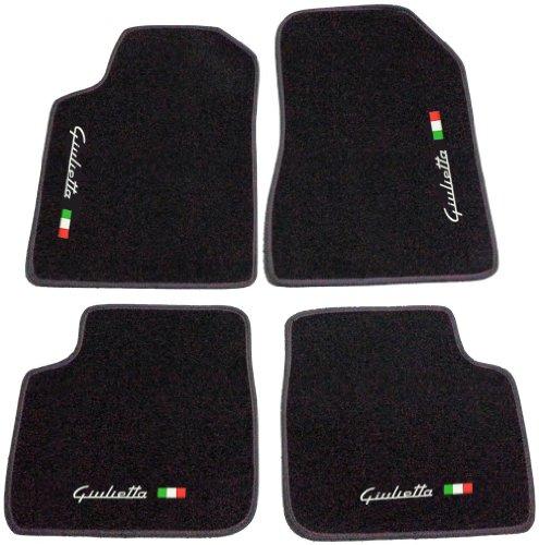 Tappeti per Auto Neri con Bordo Antracite, Set Completo di Tappetini in Moquette su Misura con Ricamo a Filo Bandiera Italiana