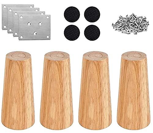 RHUAFET 4 Stück Möbelfüße, 15cm Schräger Holz Möbelbeine, Massivholz Konisch Beine Aus Eiche für Stühle Schrank Sofa Bett Couch, mit Schrauben und Filzgleiter (15CM)