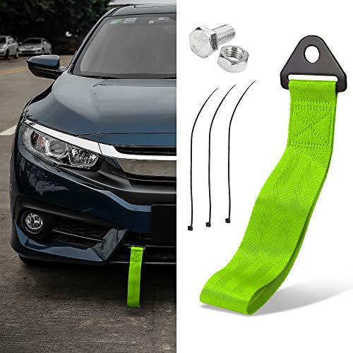 Thenice Tow Strap High Strength JDM Style Towing Straps Universal Bumper Decals - Green