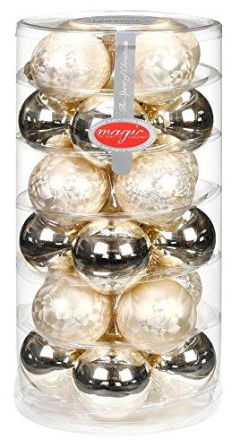 24 Christbaumkugeln GLAS 6cm ( eislack champagner ) // Weihnachtskugeln Baumkugeln Baumschmuck Weihnachtsdeko Kugeln Glaskugeln Christbaumschmuck Dose Deko 60mm