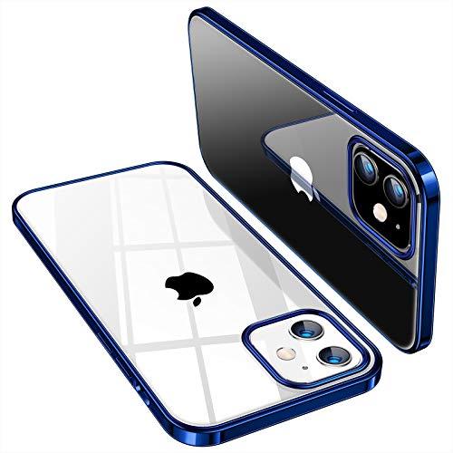 TORRAS iPhone 12 mini 用 ケース 5.4インチ 透明 青いバンパー メッキ加工 薄型 軽量 耐衝撃 ソフトTPU SGS認証 黄ばみなし レンズ保護 アイフォン12 mini 用カバー ネイビーブルー Shiny Series
