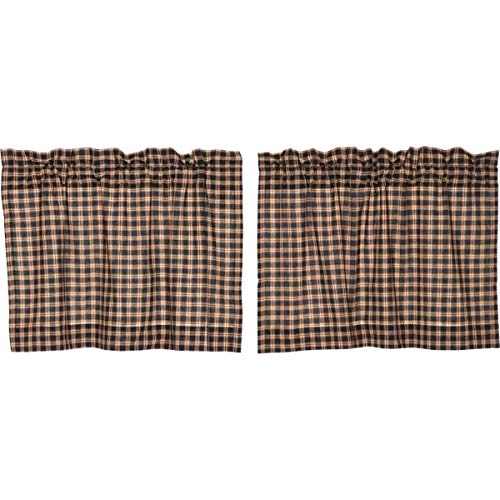 VHC Brands Bingham Star Tier Plaid Set of 2 L24xW36 Country Curtains, Soft Black…