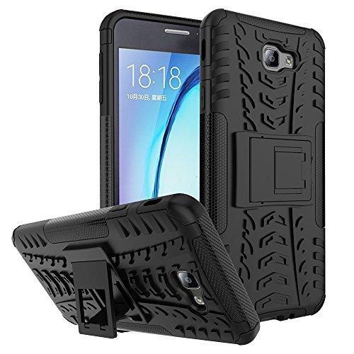 WindCase Galaxy J7 Prime Hülle, Outdoor Dual Layer Holster Armor Tasche Heavy Duty Defender Schutzhülle mit Ständer Case für Samsung Galaxy J7 Prime / Galaxy On7 (2016) Schwarz