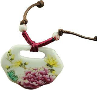 Easting Chinese Style Painted Colorful Peony Flower Lock Shape Ceramic Pendant Necklace