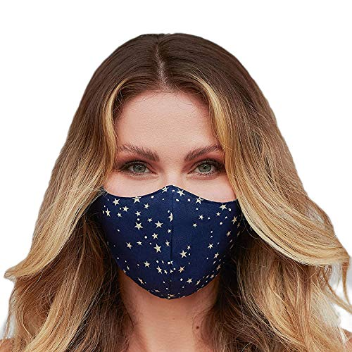 Washable Face Mask with Adjustable Ear Loops & Nose Wire - 3 Layers, Made in USA (Star Denim)