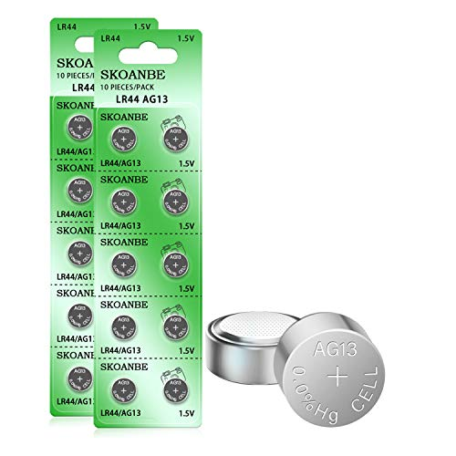 SKOANBE 20PCS AG13 LR44 A76 SR44 303 357 1.5V Button Coin Cell Battery