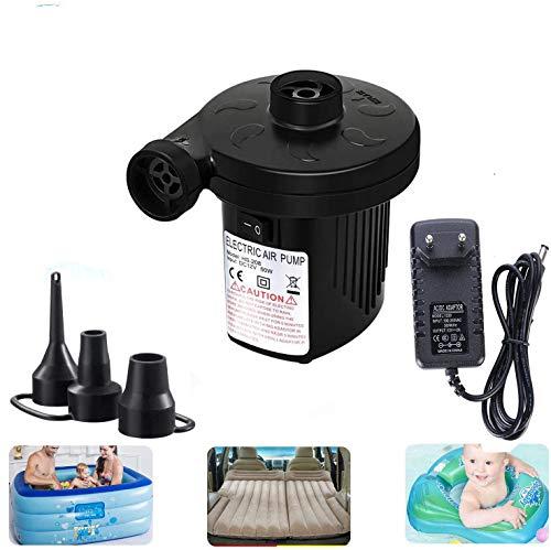 iKulilky Elektrische Luftpumpe, 2 in 1 Elektropumpe Inflate und Deflate Power Pump mit 3 Luftdüse Elektrische Pumpe Auto Elektropumpe für Home Camping Aufblasbare Matratze Bett Schwimmring