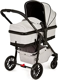 Ickle Bubba Moon All in One Four Wheel Convertible Pram, Bundle Includes Pushchair & Accessories, Silver Grey on Black Cha...
