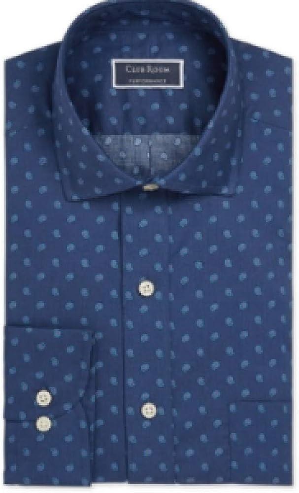 Club Room Men's Classic/Regular Fit Stretch Pine Print Dress Shirt XL Blue