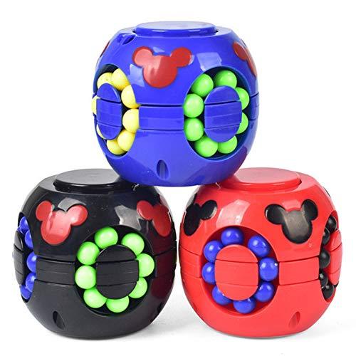 XIAOTENG Juego de 3 piezas para niños y adultos con forma de cubo giratorio de rubik, color negro y rojo