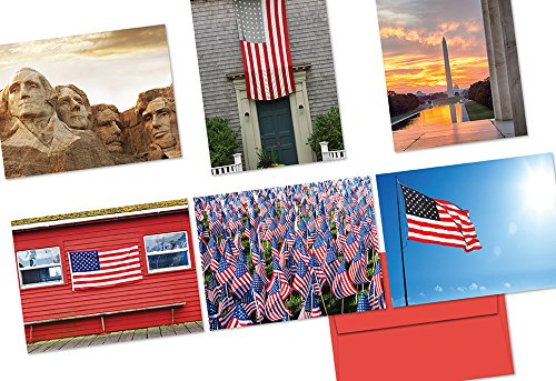 Note Card Cafe Patriotic Card with Red Envelopes | 72 Pack | Blank Inside, Glossy Finish | 6 Various Patriotic Scenery Designs | Bulk Set for Christmas, Thank You, Greetings