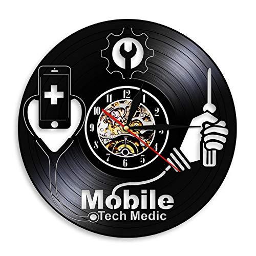 llvvv Panel de Servicio de reparación de Equipos Inteligentes señal de Arte Taller de reparación de teléfonos móviles Teclas de Teclado tecnología de Reloj médico Disco de Vinilo Reloj de Pared