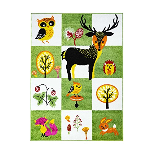 MyShop24h Kinderteppich Kinderzimmer Teppich Flachflor Tiere REH Eule Igel Kinderzimmer Teppich, Größe in cm:140 x 200 cm