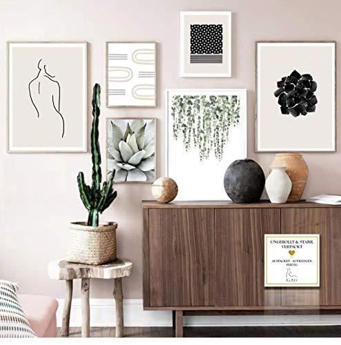 ELAFI Neu Premium Poster Set 6er | Stilvolle Dekoration mit passendem Bilder Set als Wohnzimmer Deko | Set 3X DIN A3 & 3X DIN A4 ohne Bilderrahmen | Kunstdruck Blätter Abstrakt