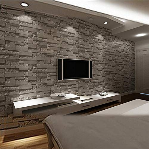 Halloween Wallpaper Home Decor Wall Paper Roll Modern Stacked brick 3d stone wallpaper roll grey brick wall background for living room pvc vinyl wall paper stereoscopic look@WP07100_Grey_white